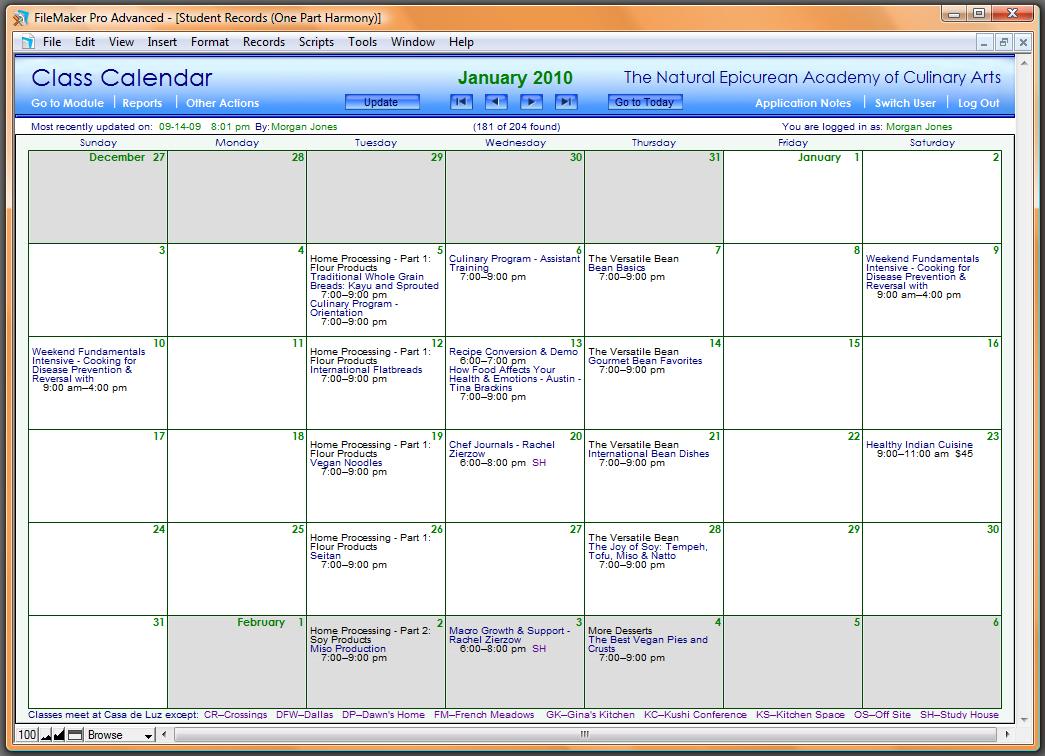 Calendar Database Design : One part harmony filemaker database design development